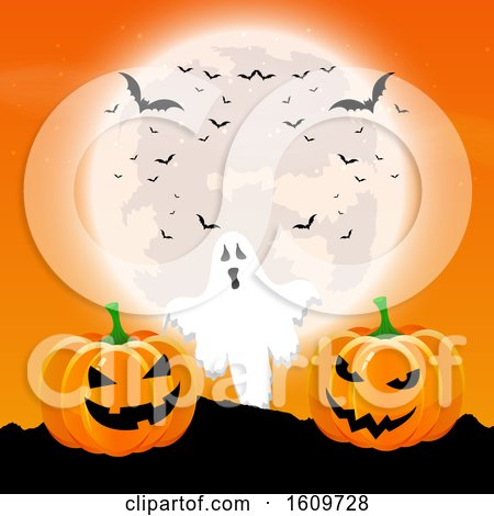 Halloween Background with Pumpkins and Ghost in a Moonlit Landscape by KJ Pargeter
