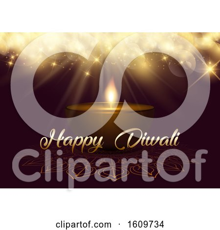 Diwali Background with Bokeh Lights and Oil Lamp by KJ Pargeter