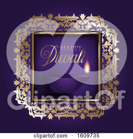 Gold and Purple Diwali Background by KJ Pargeter