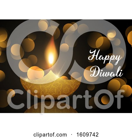 Diwali Lamp Background with Bokeh Lights by KJ Pargeter