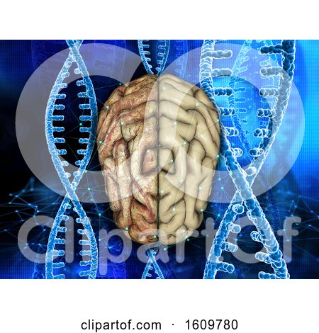 3D Medical Background with Healthy and Unhealthy Brain on DNA Strands by KJ Pargeter