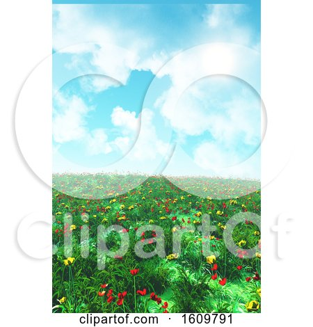 3D Landscape with Poppies and Buttercups by KJ Pargeter