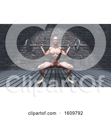 3D Male Figure in Barbell Squat Pose in Grunge Interior by KJ Pargeter