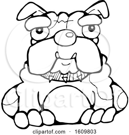Clipart of a Black and White Sitting Bulldog - Royalty Free Vector Illustration by Maria Bell