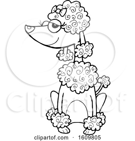 Clipart of a Black and White Sitting Poodle Dog - Royalty Free Vector Illustration by Maria Bell