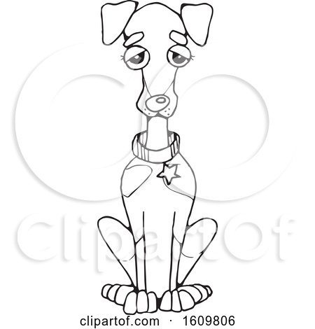 Clipart of a Black and White Sitting Doberman Dog - Royalty Free Vector Illustration by Maria Bell