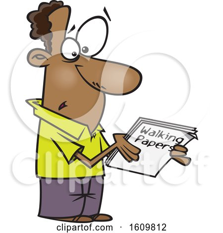 Clipart of a Cartoon Black Man Holding Walking Papers - Royalty Free Vector Illustration by toonaday