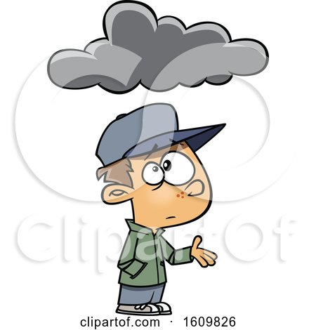 Clipart of a Cartoon White Boy Feeling Under the Weather, with a Cloud - Royalty Free Vector Illustration by toonaday