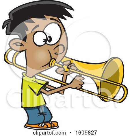 Clipart of a Cartoon Boy Playing a Trombone - Royalty Free Vector Illustration by toonaday
