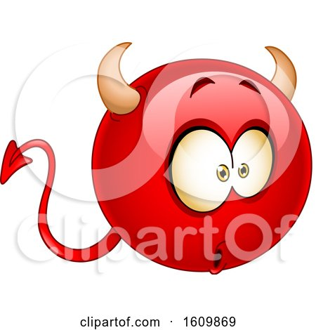 Clipart of a Wondering or Amazed Devil Emoji - Royalty Free Vector Illustration by yayayoyo