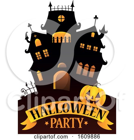 Clipart of a Haunted House with a Jackolantern Pumpkin over Halloween Party Text - Royalty Free Vector Illustration by visekart