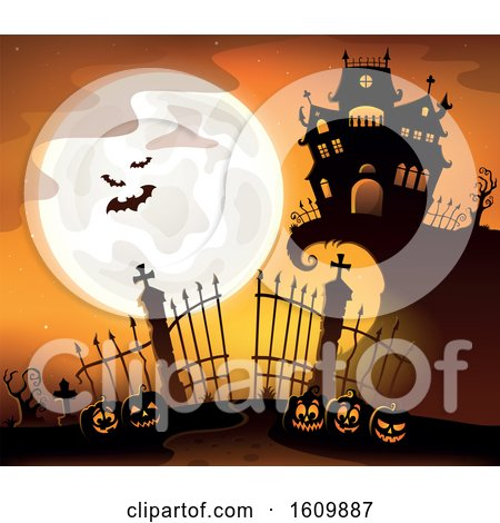 Clipart of a Haunted House with Gates and Jackolanterns - Royalty Free Vector Illustration by visekart