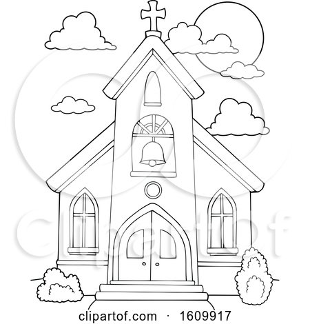Clipart of a Black and White Church Building Exterior - Royalty Free Vector Illustration by visekart
