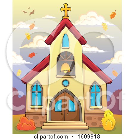 Clipart of a Church Building Exterior with Autumn Leaves - Royalty Free Vector Illustration by visekart