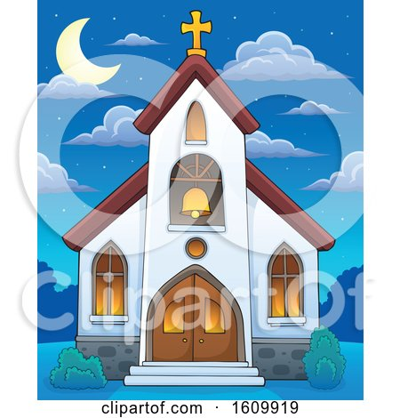 Clipart of a Church Building Exterior at Night - Royalty Free Vector Illustration by visekart