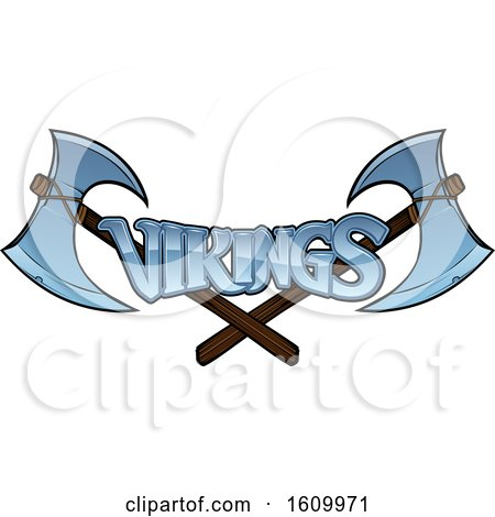 Clipart of Crossed Viking Axes and Text - Royalty Free Vector Illustration by AtStockIllustration