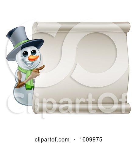 Snowman Christmas Sign Cartoon by AtStockIllustration