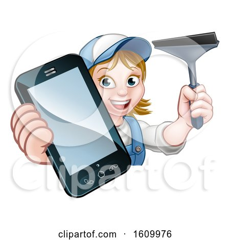 Window or Car Cleaner Phone Concept by AtStockIllustration