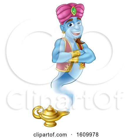 Genie Magic Lamp Aladdin Pantomime Cartoon by AtStockIllustration
