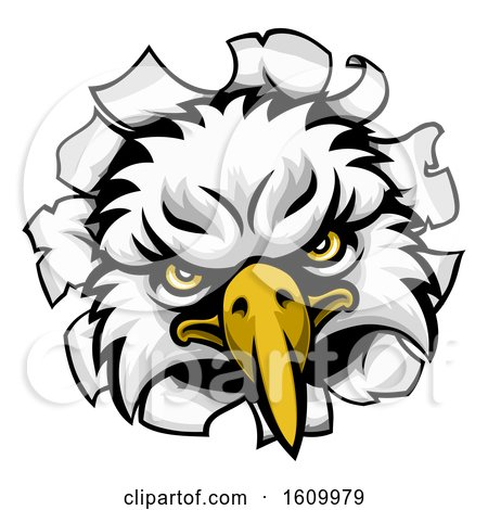 Eagle Mascot Face Ripping Through Background by AtStockIllustration