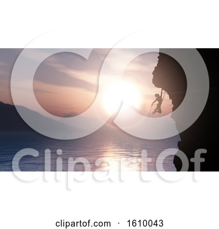 3D Silhouette of an Extreme Rock Climber Against a Sunset Ocean Landscape by KJ Pargeter