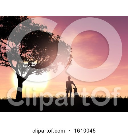 3D Silhouette of a Boy and His Dog Against a Sunset Sky by KJ Pargeter