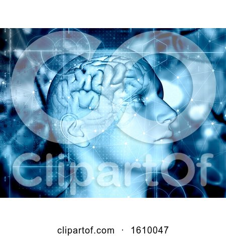 3D Medical Background with Male Figure and Brain Highlighted by KJ Pargeter