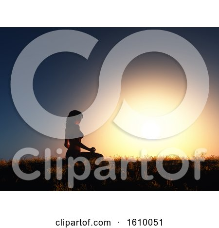 3D Female in Yoga Position Against Sunset Sky by KJ Pargeter