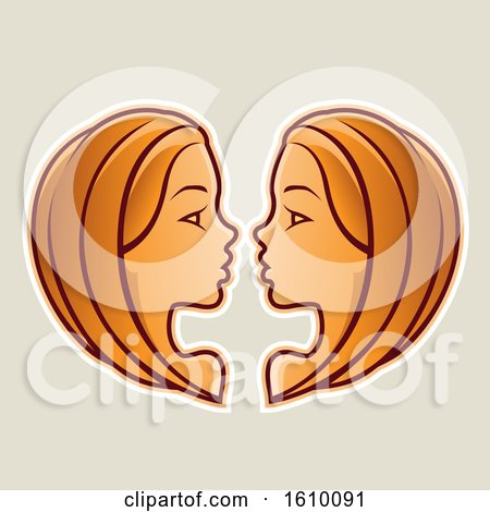 Clipart of Cartoon Styled Orange Gemini Twins Icon on a Beige Background - Royalty Free Vector Illustration by cidepix