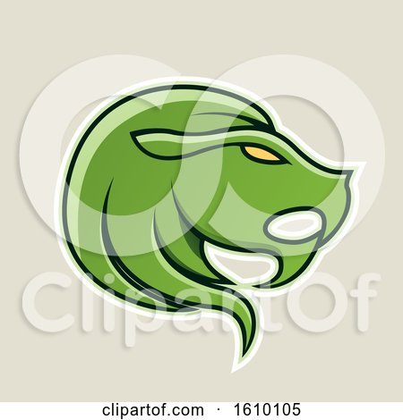 Clipart of a Cartoon Styled Green Leo Lion Head Icon on a Beige Background - Royalty Free Vector Illustration by cidepix