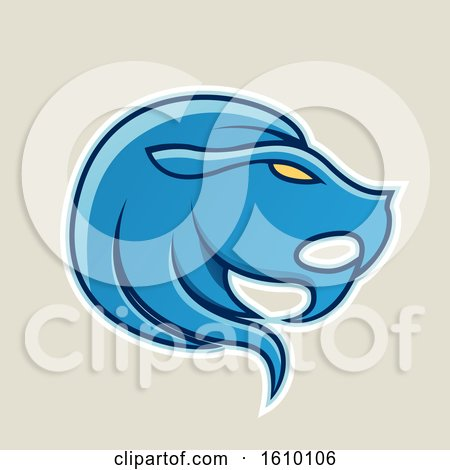 Clipart of a Cartoon Styled Blue Leo Lion Head Icon on a Beige Background - Royalty Free Vector Illustration by cidepix