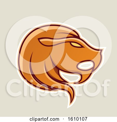 Clipart of a Cartoon Styled Orange Leo Lion Head Icon on a Beige Background - Royalty Free Vector Illustration by cidepix