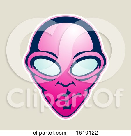 Clipart of a Cartoon Styled Magenta Alien Face Icon on a Beige Background - Royalty Free Vector Illustration by cidepix