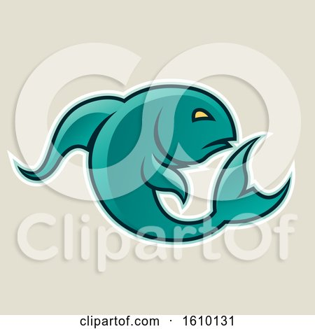 Clipart of a Cartoon Styled Persian Green Jumping Fish Icon on a Beige Background - Royalty Free Vector Illustration by cidepix