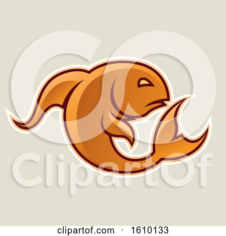 Clipart of a Cartoon Styled Orange Jumping Fish Icon on a Beige Background - Royalty Free Vector Illustration by cidepix