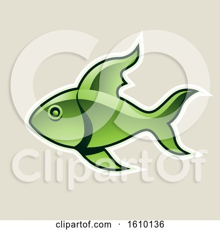 Clipart of a Cartoon Styled Green Fish Icon on a Beige Background - Royalty Free Vector Illustration by cidepix