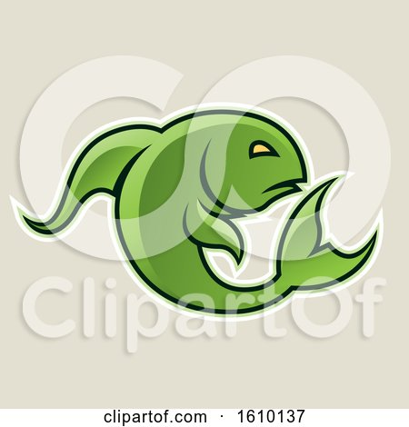 Clipart of a Cartoon Styled Green Jumping Fish Icon on a Beige Background - Royalty Free Vector Illustration by cidepix