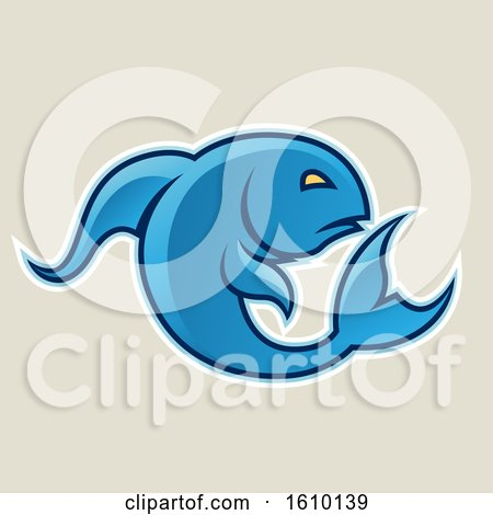Clipart of a Cartoon Styled Blue Jumping Fish Icon on a Beige Background - Royalty Free Vector Illustration by cidepix