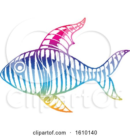 Clipart of a Sketched Colorful Fish - Royalty Free Vector Illustration by cidepix