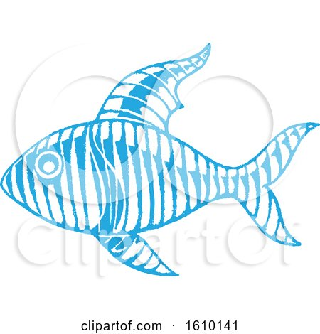 Clipart of a Sketched Blue Fish - Royalty Free Vector Illustration by cidepix