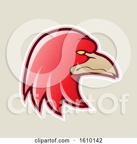 Clipart of a Cartoon Styled Red Profiled Eagle Mascot Head Icon on a Beige Background - Royalty Free Vector Illustration by cidepix