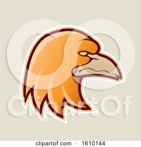 Clipart of a Cartoon Styled Orange Profiled Eagle Mascot Head Icon on a Beige Background - Royalty Free Vector Illustration by cidepix