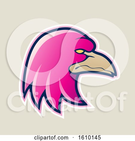 Clipart of a Cartoon Styled Magenta Profiled Eagle Mascot Head Icon on a Beige Background - Royalty Free Vector Illustration by cidepix