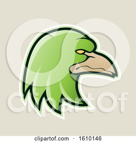 Clipart of a Cartoon Styled Green Profiled Eagle Mascot Head Icon on a Beige Background - Royalty Free Vector Illustration by cidepix