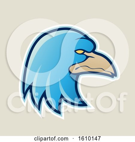 Clipart of a Cartoon Styled Blue Profiled Eagle Mascot Head Icon on a Beige Background - Royalty Free Vector Illustration by cidepix