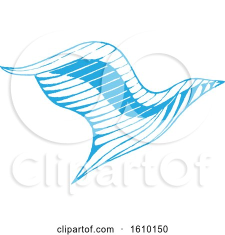 Clipart of a Sketched Blue Eagle - Royalty Free Vector Illustration by cidepix