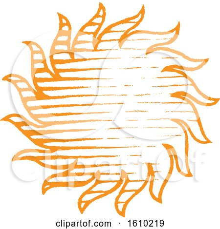 Clipart of a Sketched Orange Sun - Royalty Free Vector Illustration by cidepix