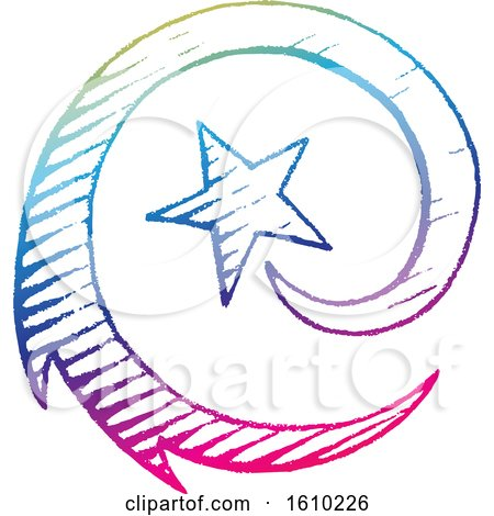 Clipart of a Sketched Colorful Spiraling Shooting Star - Royalty Free Vector Illustration by cidepix