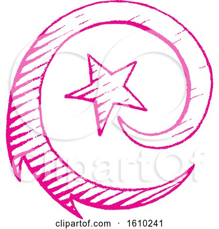 Clipart of a Sketched Magenta Spiraling Shooting Star - Royalty Free Vector Illustration by cidepix