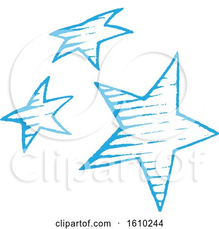 Clipart of a Sketched Blue Group of Stars - Royalty Free Vector Illustration by cidepix